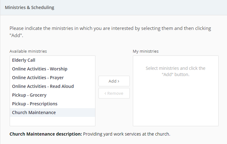 Church Maintenance: Enrollment Forms