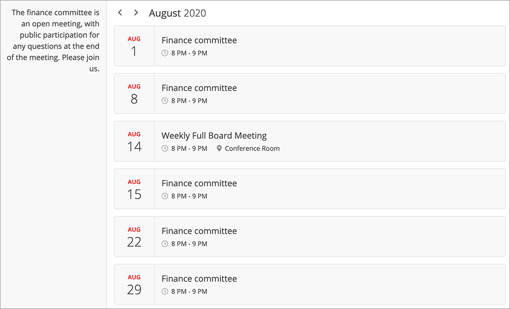 Meeting, upcoming event and milestone calendar